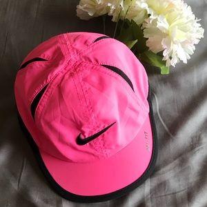 Nike Pink Baseball Hat Black Swoosh Velcro Back